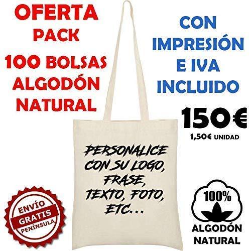 Pack 100 unidades Bolsa de tela algodón natural ...