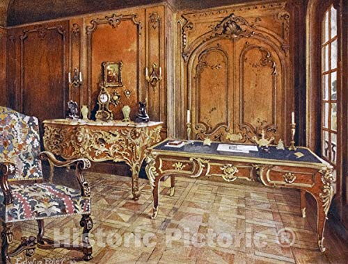 - Historic Pictoric 1910 Print | Panelled room: French. Style of the regence. Carved oak chair, Le Garde Meuble, | Vintage Wall Art | 44in x 36in