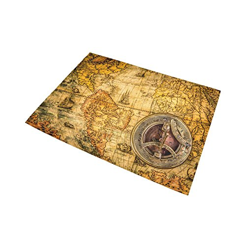 Black And White World Map Rug: D-Story Floor Decor Vintage Compass Lies On An Ancient