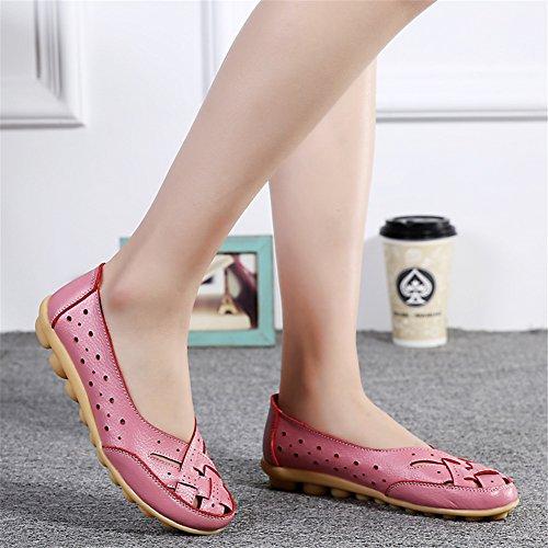 Z-joyee Womens Aushöhlen Casual Leder Fahren Flache Müßiggänger Schuhe Rosa
