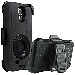 Galaxy S4 Case, S4 Case - Ulak Knox Armor Shockproof Hybrid Rugged Rubber Holster Case Defensive Cover For Samsung Galaxy S4 Iv I9500 W Swivel Locking Belt Clip Kickstand -Black