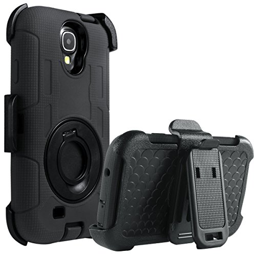 Galaxy S4 Case, S4 Case - ULAK Knox Armor Shockproof Hybrid Rugged Rubber Holster Case Defensive Cover for (Covers Samsung Galaxy S4)