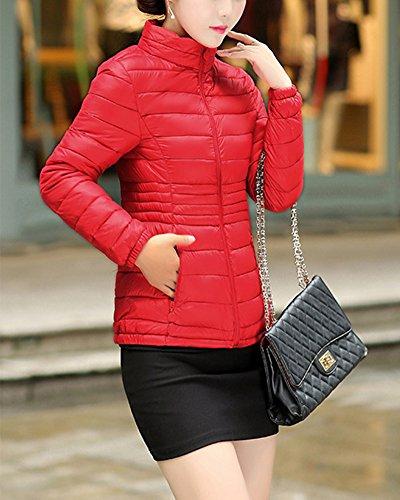 Pour Zippe Veste Parka Gracieux Manteau Lgre Femme SaiDeng Rouge Ultra Courte Blouson qp4wSfz
