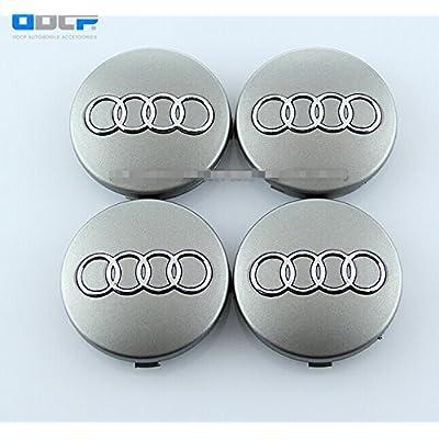 Dr Dry Set of 4 pcs 60mm Wheel Center Caps Hubcaps for Audi Silver: Automotive