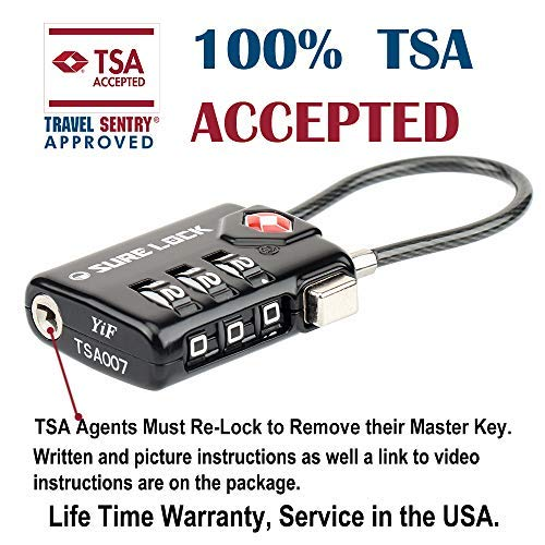 TSA Compatible Travel Luggage Locks, Inspection Indicator, Easy Read Dials-  1, 2 & 4 Pack (L, BLACK 1 PACK)