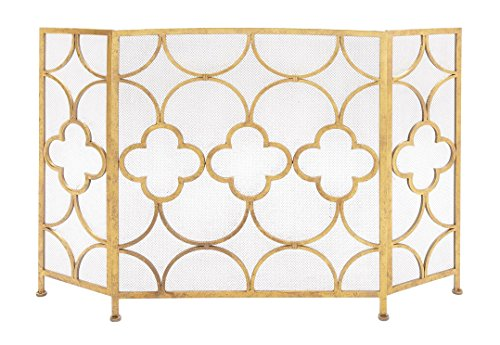 Benzara 67053 The Metal Fireplace Screen, Yellow by Benzara