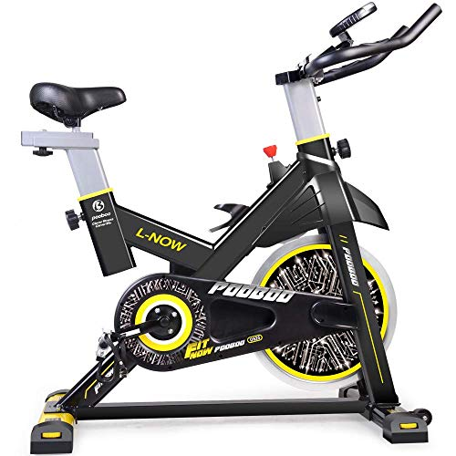 pooboo Indoor Cycling Bicycle, Belt Drive Indoor Exercise Bike,Stationary Exercise LCD Display Bicycle Heart Pulse Trainer Bike Bottle Holder by pooboo (Image #4)