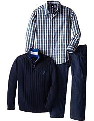 诺帝卡Nautica男童毛衣衬衫裤子三件套 多色$19.99 3 Piece Woven and Sweater