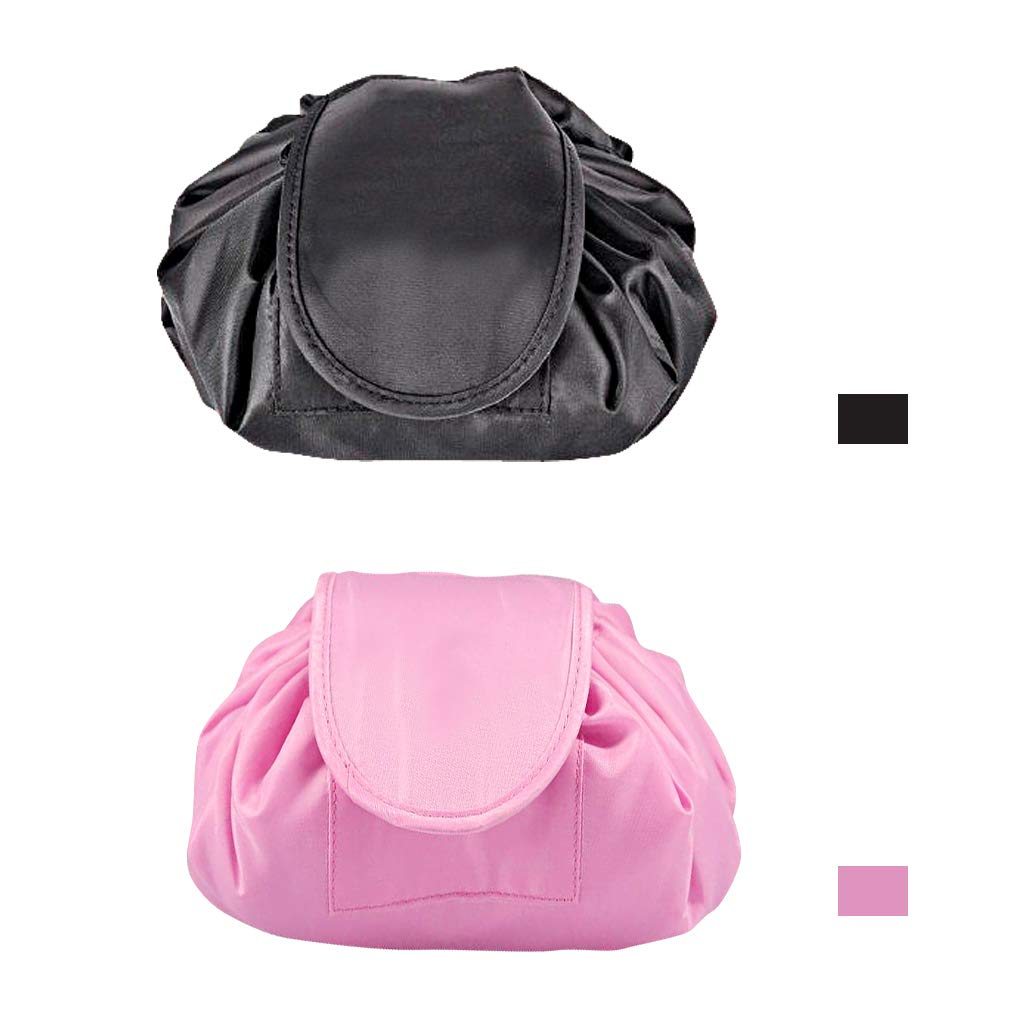 Drawstring Lazy Cosmetic Bag, TLBTEK Double Huge Expandable Makeup Pouch Bag Kit Portable Travel Toiletry Storage Organiser for Women and Men, Waterproof Matrial (Pink and Black)
