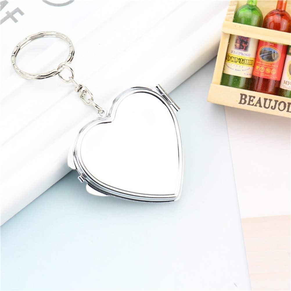 Silver, Heart Shape Toyvian Portable Mirror Keychain Double-Side Folding Pocket Compact Makeup Mirror Keychain