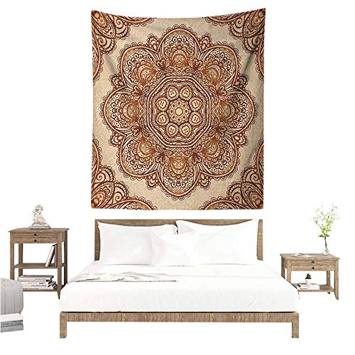 Paisley Needlepoint Brown (Ethnic DIY Tapestry Mehndi Style Floral Flower with Abstract Paisley Backdrop Art Print Occlusion Cloth Painting 60W x 91L INCH Pale Brown and Dark Brown)