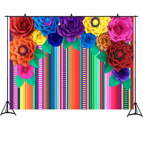 Fiesta Theme Party Backdrop 7x5ft Colorful Stripes Ethnic Mexican Pattern Backdrop for Photo Booth Paper Flowers Photography Background Studio Props Cinco De Mayo Party Decoration]()