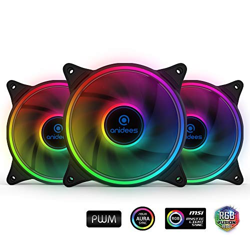 (anidees AI Tesseract 120mm 3pcs RGB PWM Fan compatible with ASUS Aura SYNC/MSI Mystic Sync/GIGABYTE Fusion, controlled by 5V 3pins RGB Header on MB, for Case Fan, Cooler Fan, with Remote(AI-TESSERACT))