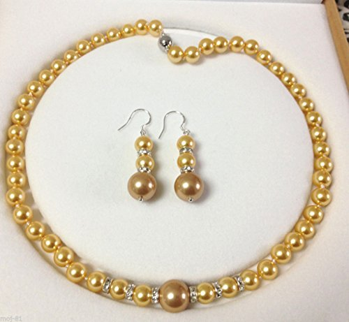 GENUINE 8-12MM GOLDEN SOUTH SEA SHELL PEARL NECKLACE 18'' EARRING JEWELRY SET