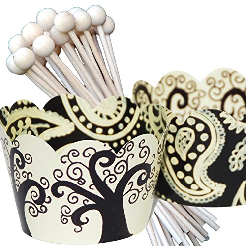 Cupcake Wrappers with Picks, Black and Ivory Tree, Paisley, Wedding and Party Decorations, Confetti Couture Party Supplies, 72 Pieces