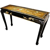 Oriental Furniture Claw Foot Console Table - Gold Leaf Birds and Flowers