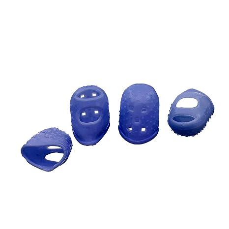 4x Púas Yema Protectores de Dedo para Bajo Guitarra Banjo Ukulele Silicona Instrumento - Azul