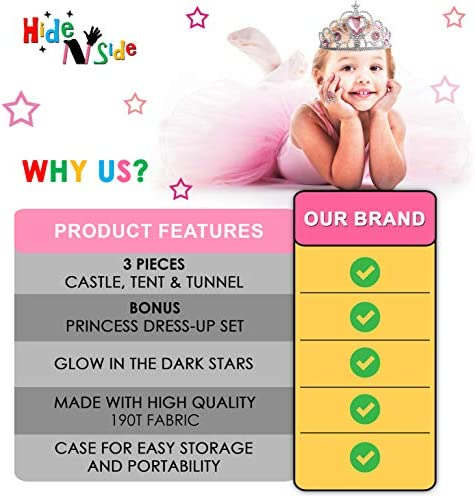 Gift for Girls Princess Tent with Tunnel Kids Castle Playhouse & Princess Dress up Pop Up Play Tent Set Toddlers Toy Birthday Gift Present for Age 3 4 5 6 7 Years Glow in The Dark Stars