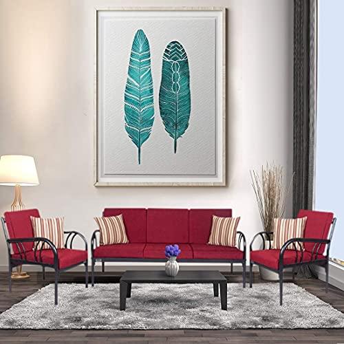 Metallika Florence Fabric 3 + 1 + 1   Maroon Sofa Set By FurnitureKraft