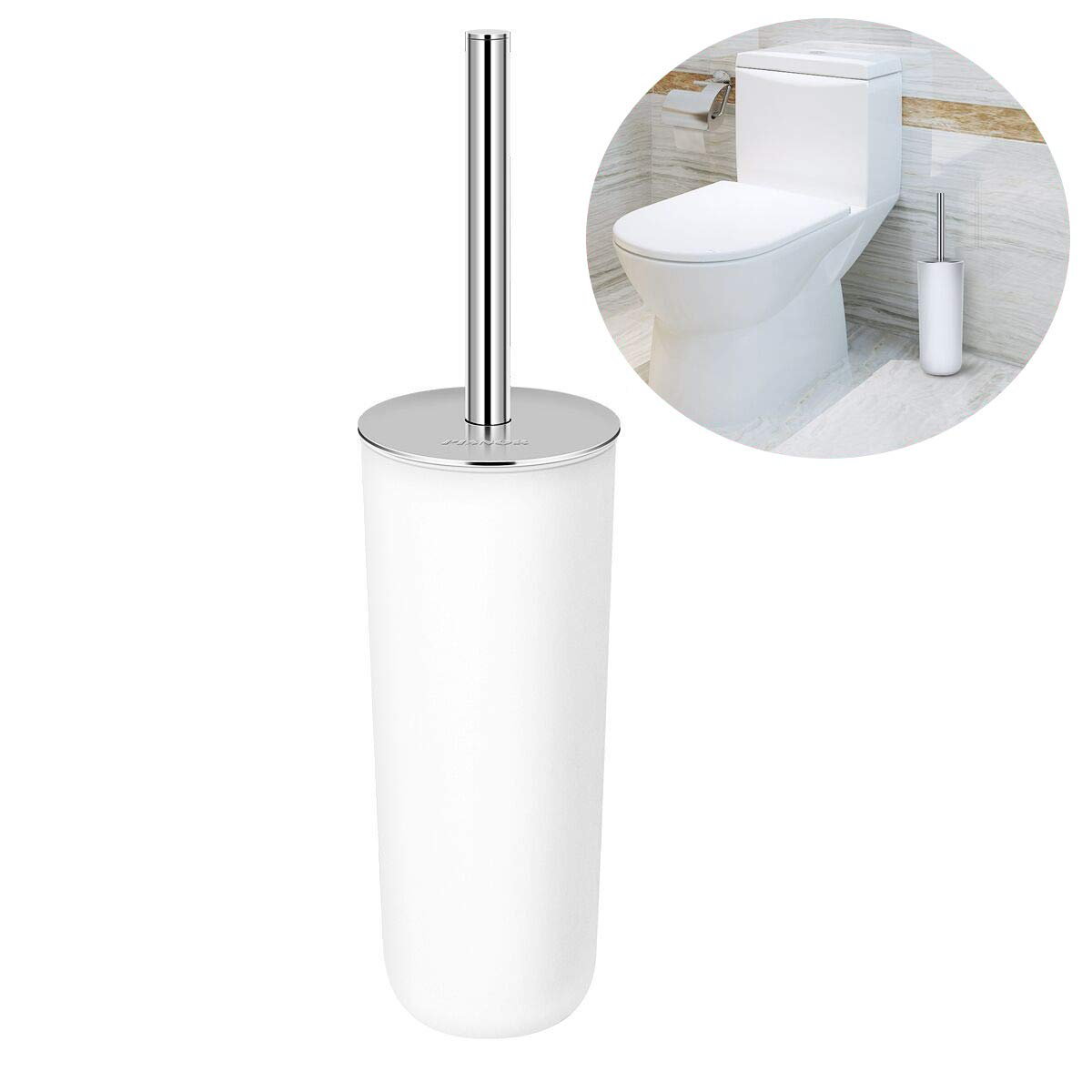 PIXNOR Toilet Brush with Holder in Attractive Modern Design Stainless Steel 15 Inch Handle. Soft, Dense, Long Bristles Clean Easily (White) by PIXNOR