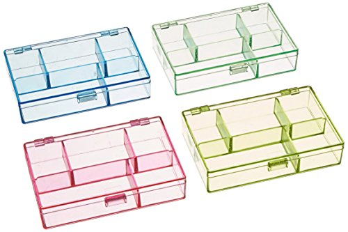 Darice 1156-73 3-1/2-Inch by 4-1/2-Inch by 1-Inch Neon Plastic Organizer, Set of 4 (Boxes Organizer 5 Plastic)