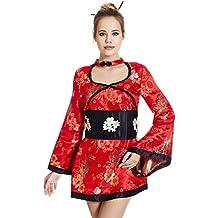 La Mascarade Adult Geisha Girl Costume Role Play Dress Up Geiko Asian Japanese Kimono Cosplay