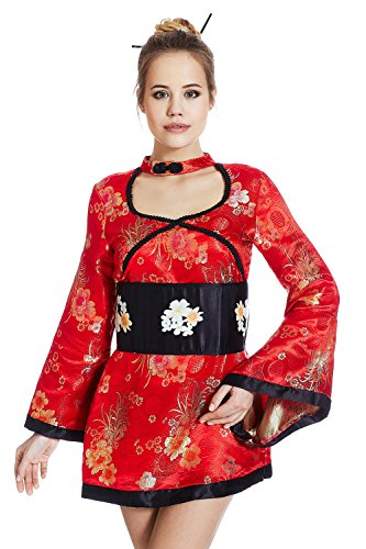 Women Adult Hot Geisha Halloween Costume Short Sexy Kimono Dress Up & Role Play (One Size - Fits (Unique Adult Halloween Costumes Ideas)