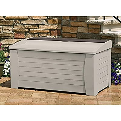 Suncast Premium 127-Gallon Deck Box with Seat and Storage Tray - DB12000