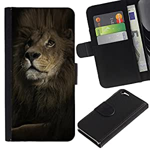 All Phone Most Case / Oferta Especial Cáscara Funda de cuero Monedero Cubierta de proteccion Caso / Wallet Case for Apple Iphone 6 // Lion Mane Powerful King Animal Black