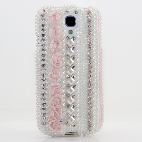 Samsung Galaxy S4 i9500 Luxury 3D Bling Case - Elegant White Pearl Pink Rose Lace Design - Swarovski Crystal Diamond Sparkle Girly Protective Cover Faceplate (100% Handcrafted By Star33mall)