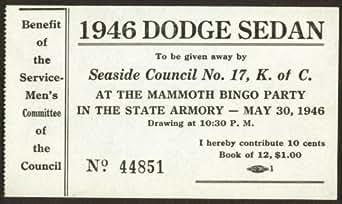 amazoncom 1946 dodge sedan k of c raffle ticket seaside