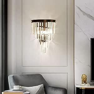 ZXF Crystal Wall Lamp Light Nordic Modern Minimalist Luxury Villa Hotel Restaurant Dining Room Living Room Bedroom 2 Bulb 31 * 29 * 40cm Black Bright