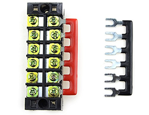 6 Set XLX 12pcs 600V 25A 12 Positions Double Row Screw Terminal Strip and 400V 25A 12 Positions Red//Black Pre-Insulated Terminal Barrier Strip