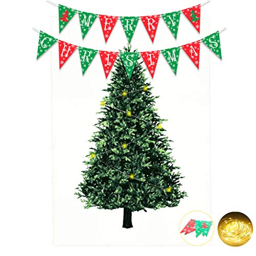 (Kicpot Christmas Tree Tapestry, Christmas Party Favors Decoration Wall Hanging Tapestry with LED & Banner for Living Room Bedroom Dorm Decor - Satin 57 x 85 Inch(L) )