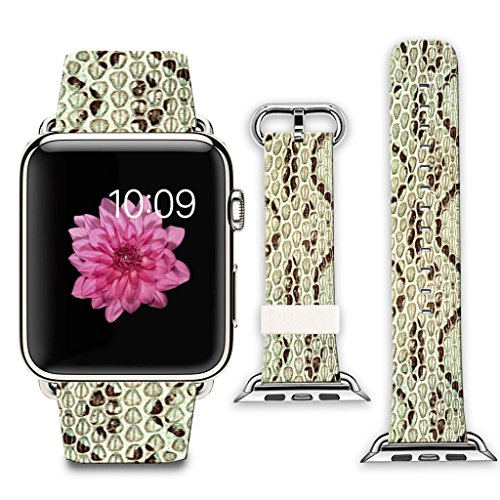 Apple Watch Band+adapter 42mm Stainless Steel Silver Metal Replacement Strap Wrist Band for Apple Watch 42mm (100% Leather - Snakeskin pattern pattern)