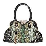 Fawziya Butterfly Snake Pattern Tassel Crystal Leather Purses And Handbags-Green