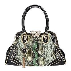 Butterfly Snake Pattern Tassel Crystal Leather Handbags