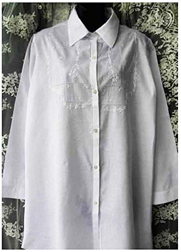 (White Cotton Batiste Nightshirt with Hand Embroidery (Petite))