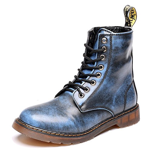 Sunny&Baby Men's Shoes Classic Leather Lace UP Oxfords High Top Boots For Gentlemen Abrasion Resistant (Color : Blue, Size : 5.5MUS Big Kid)