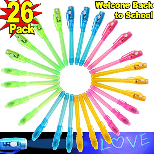 Valentine Classroom Decorating Ideas (26 Pack Invisible Ink Pen with UV Light Marker Secret Spy Pen for Students Children Back to School Gift Highlighters Prizes Box Toys for Classroom Idea Drawing Activity RSVP Cards)