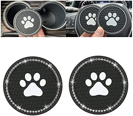 Car Coasters Anti Slip Car Cup Holder – 2.75 Inches Universal Bling Dog Paw Car Coasters for Cup Holders Cute Car Accessories (Pack of 2) (Black)