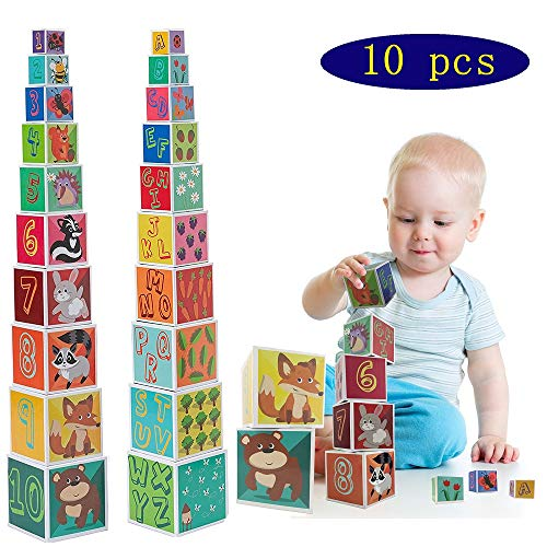 CRUISTORE Cardboard Nesting and Stacking Blocks Set | 10 Pcs of Blocks with Animal、Plant、Numbers、Letters | Development Stacking Games for Kids Toddlers Alphabet Nesting Stacking Blocks