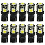 Safego T10 LED White W5W 5-SMD 5050 Super Bright 194 168 2825 Wedge LED Car Lights Source Replacement Bulbs Interior Lamps AT10-5SMD-5050W Pack of 10