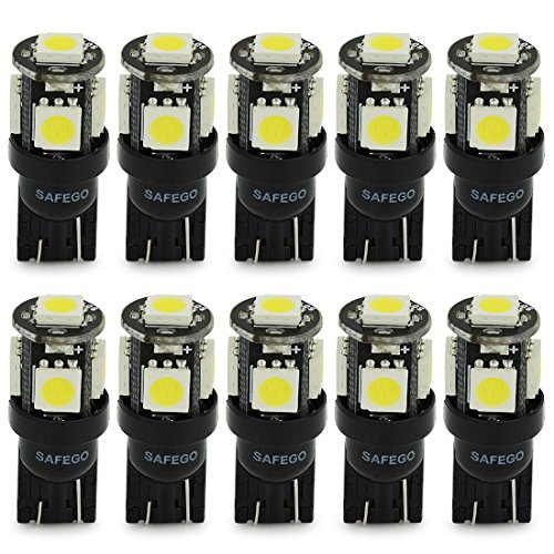 Safego T10 LED White W5W 5-SMD 5050 Super Bright 194 168 2825 Wedge LED Car Lights Source Replacement Bulbs Interior Lamps Pack of 10