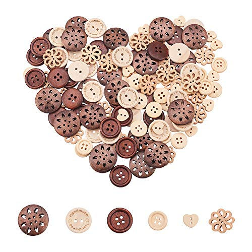 PH PandaHall 120pcs 6 Styles Wooden Buttons Hollow Flower Flat Round Sewing Handmade Button for Crafts Supplies ()