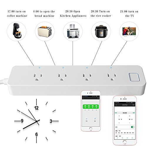 LINGANZH Smart Wi-Fi Power Strip Surge Protector Extension Socket, Individually Control Timing Function with iOS Android Smartphone Tablet, with Amazon Alexa and Google Home (White) by LINGANZH (Image #3)