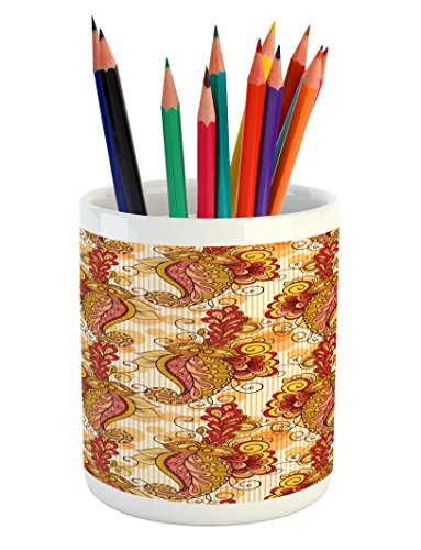 Ambesonne Asian Pencil Pen Holder, Traditional Asian Paisley in Colors Floral Ornamental Religious Cultural Art, Printed Ceramic Pencil Pen Holder for Desk Office Accessory, Orange Yellow Red