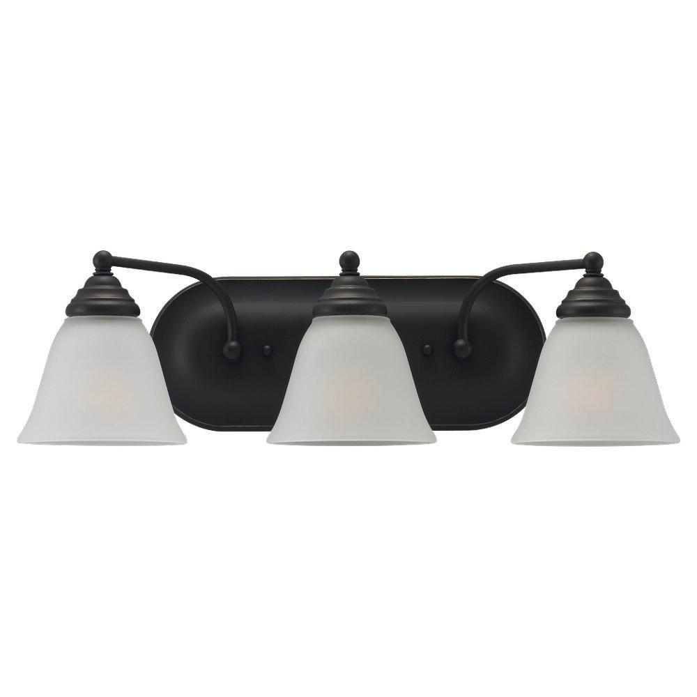Sea Gull 44577-782 Lighting 3-Light Albany Heirloom Bathroom Vanity Light, Bronze, 1-Pack