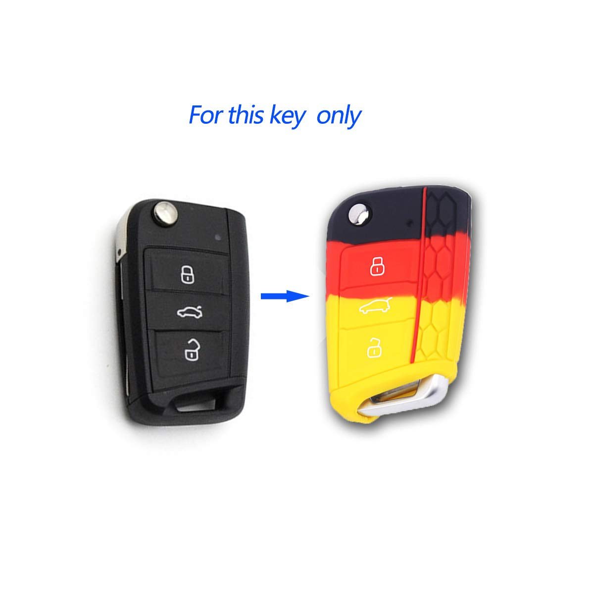 BE Silicone Car Key Cover /& Keychains for Volkswagen Golf7 GTI MK7 Car Key Case 5559017896