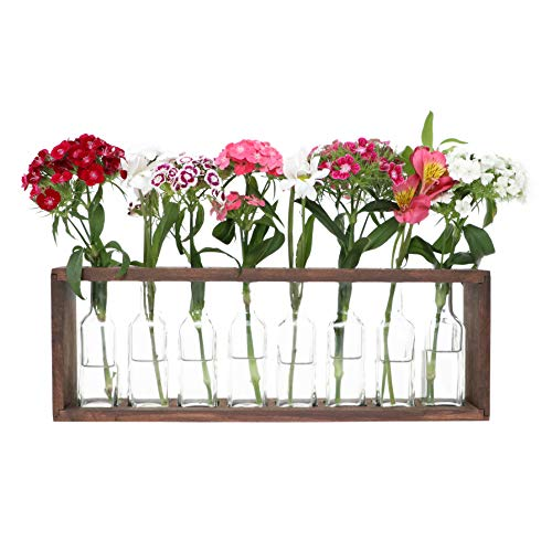 The Mammoth Design Flower Vases Bud Pots in Wooden Rack | Rustic, Vintage Home Decor | Windowsill Accessory, Wedding, Kitchen, Dining Table -
